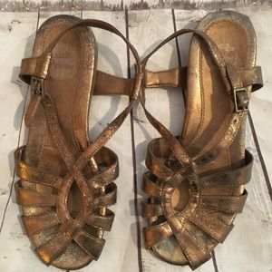Anthropologie Lucky Penny Bronze Sandals